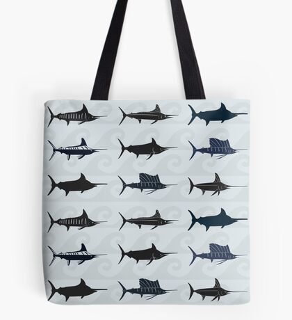 Marlin Billfish Print Throw Pillow - Blue Tote Bag