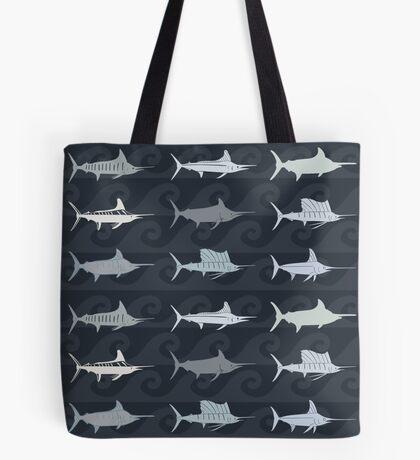 Marlin Billfish Print Throw Pillow - Dark Navy Tote Bag