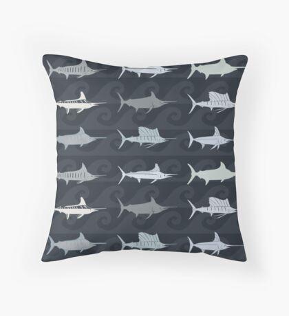 Marlin Billfish Print Throw Pillow - Dark Navy Throw Pillow