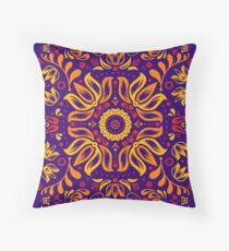 Fiery Floral Folk Pattern Throw Pillow