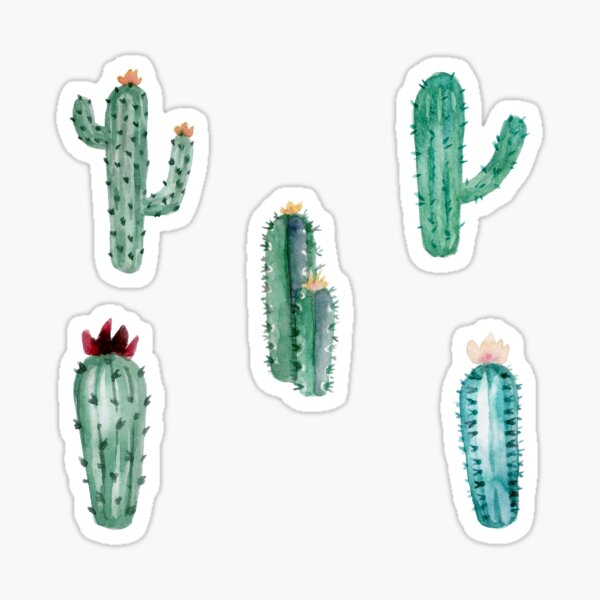 Cactus Watercolour Watercolor Aesthetic Pattern 1 Sticker