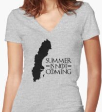 Summer is NOT coming - sweden(black text) Women's Fitted V-Neck T-Shirt