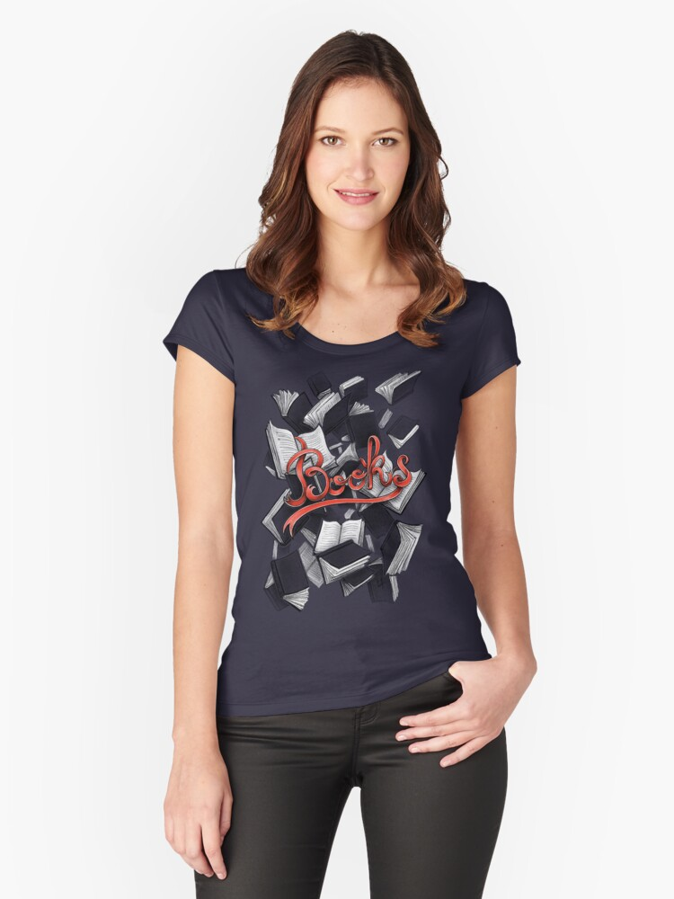 Books Women's Fitted Scoop T-Shirt Front