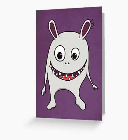 Funny Cracked Teeth Happy Monster Greeting Card