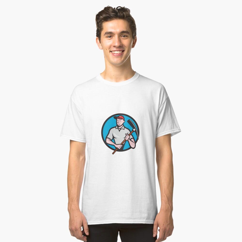 Construction Worker Pickaxe Circle Cartoon Classic T-Shirt Front