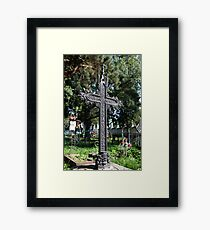 old tombstone gothic cross Framed Print