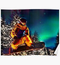 Snowboarding The Aurora Borealis  Poster