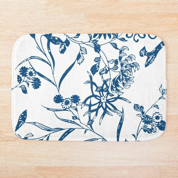 Seamless Blue Flowers pattern  Bath Mat