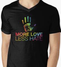 Mehr Liebe weniger Hass, Gay Pride, LGBT T-Shirt mit V-Ausschnitt
