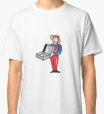Man Holding Empty Open Suitcase Cartoon Classic T-Shirt