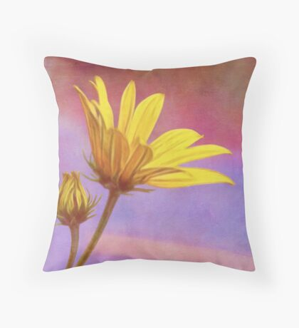 Painted Swamp Sunflower and Bud Along the Fence Throw Pillow