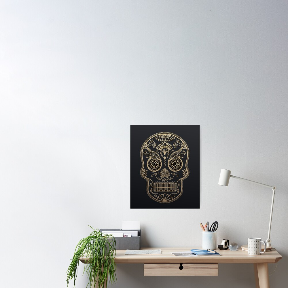 Black Gold Mexican Skull Poster