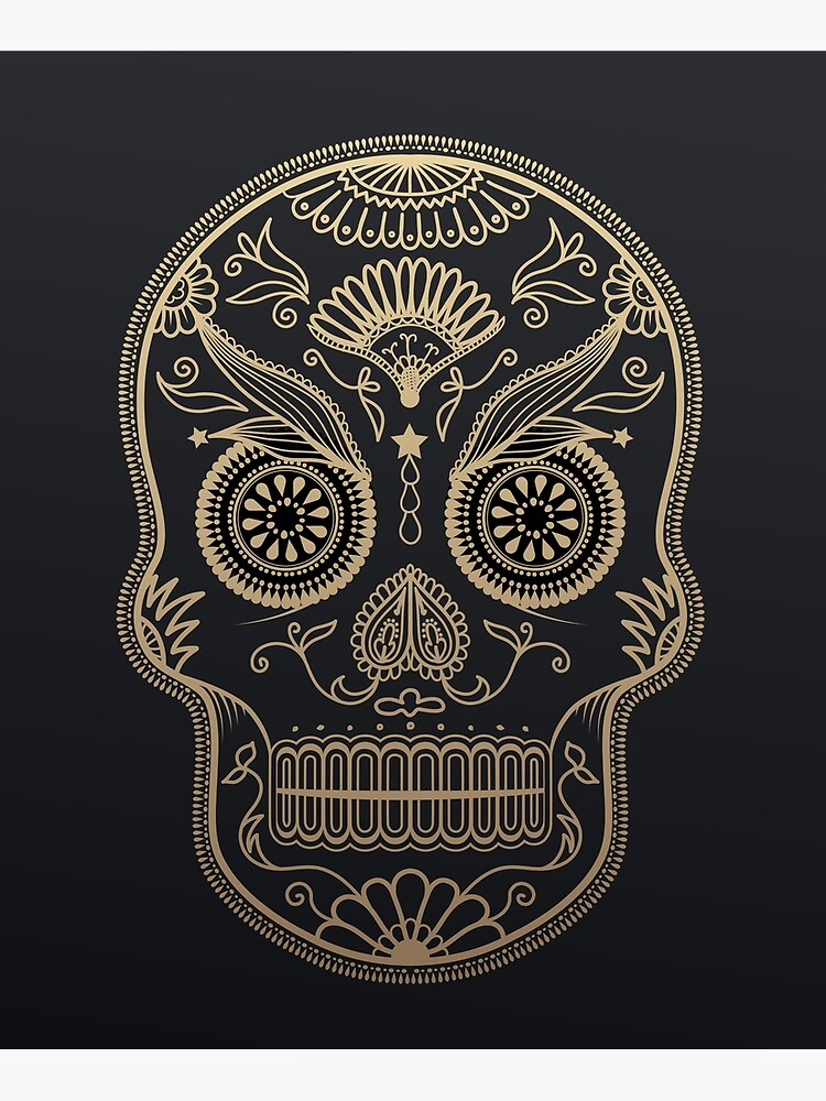 Black Gold Mexican Skull by TapestryGirls