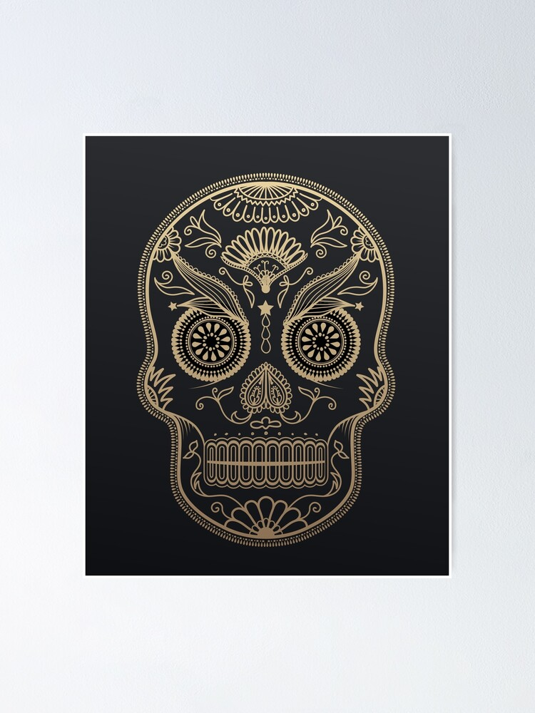 Alternate view of Black Gold Mexican Skull Poster