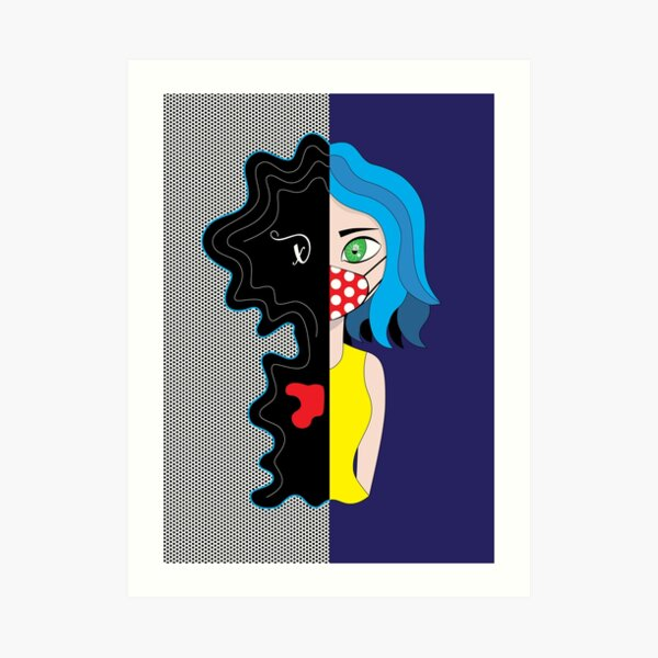 Girl with a Mask - Double Face Art Print
