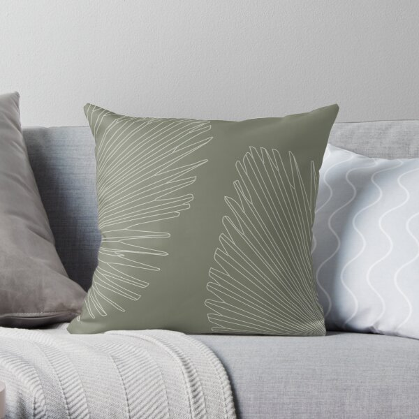 Palm leaves - sage green Throw Pillow