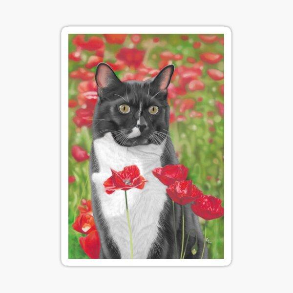 Cat in poppy flowers Sticker