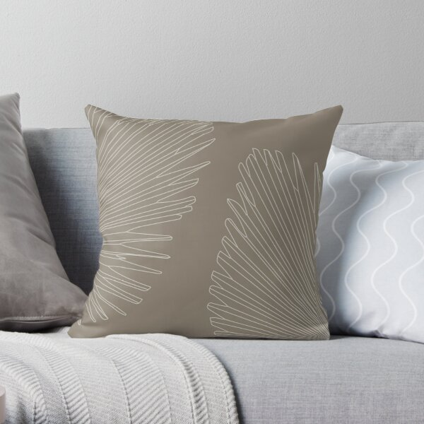 Palm leaves - clay brown Throw Pillow