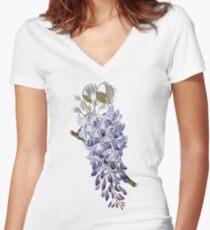 Vintage - Flower - Wisteria Women's Fitted V-Neck T-Shirt