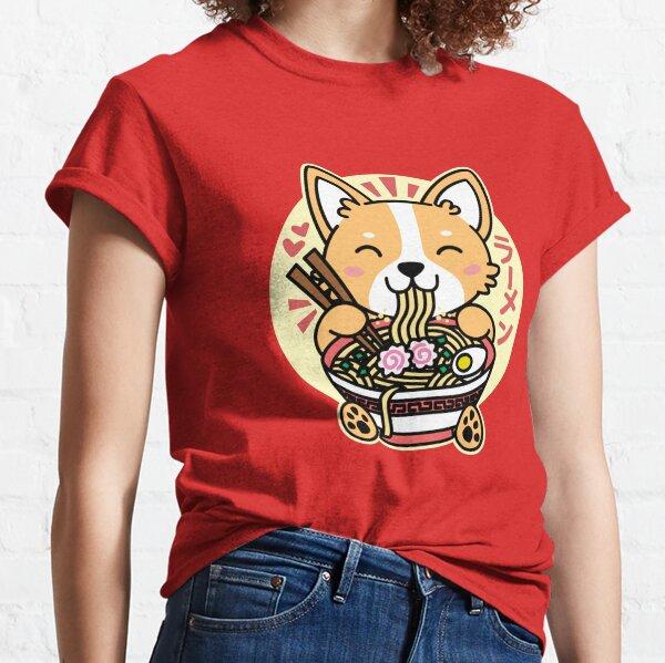 Corgi Eating Ramen Cute Kawaii Noodles Classic T-Shirt