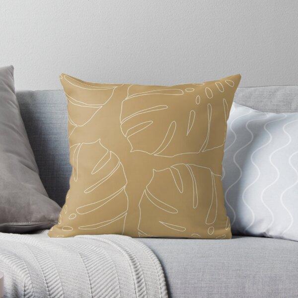 Monstera leaves - honey mustard Throw Pillow