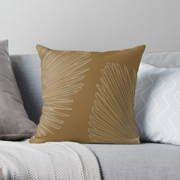 Palm leaves - honey gold Throw Pillow
