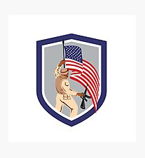 Soldier Military Serviceman Holding Flag Rifle Shield Photographic Print