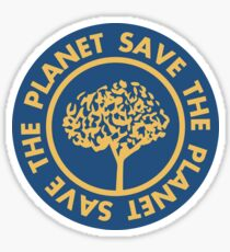 Save the planet hand drawn lettering on clean white background. Retro style calligraphy, motivational phrase for Earth day. For greeting card, logo, badge, print, poster, party designs. Sticker