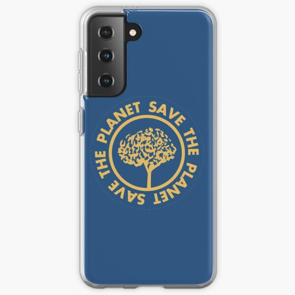 Save the planet hand drawn lettering on clean white background. Retro style calligraphy, motivational phrase for Earth day. For greeting card, logo, badge, print, poster, party designs. Samsung Galaxy Soft Case