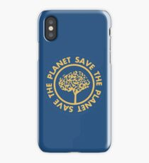 Save the planet hand drawn lettering on clean white background. Retro style calligraphy, motivational phrase for Earth day. For greeting card, logo, badge, print, poster, party designs. iPhone Case/Skin
