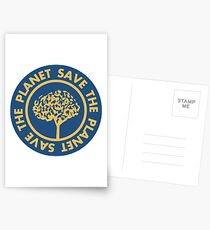 Save the planet hand drawn lettering on clean white background. Retro style calligraphy, motivational phrase for Earth day. For greeting card, logo, badge, print, poster, party designs. Postcards