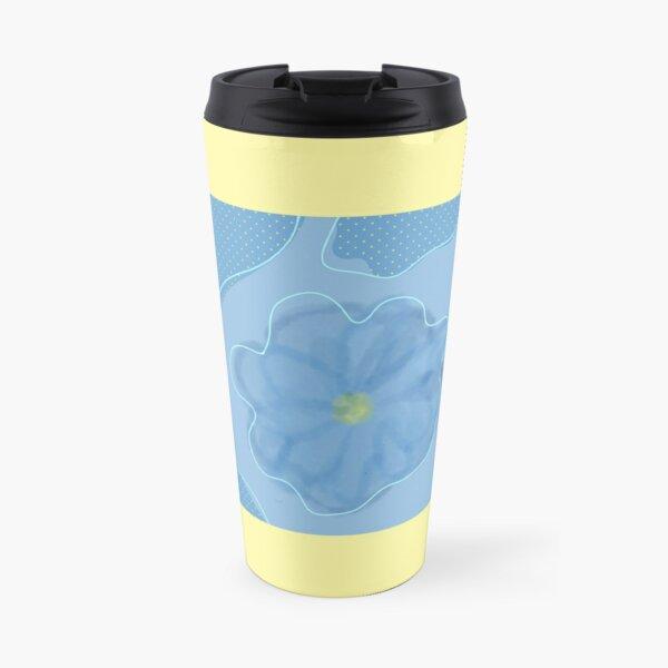 Blue Polka Dot Flower Travel Mug