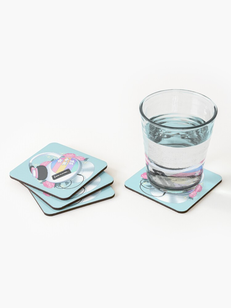 Alternate view of Flowery CD Player (Pastel) Coasters (Set of 4)