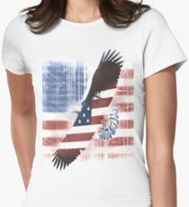 july 4th eagle Womens Fitted T-Shirt