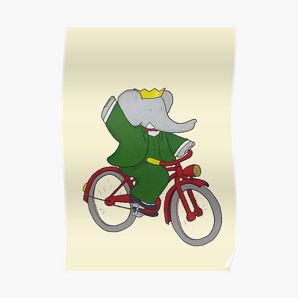 Babar fait du vélo Poster