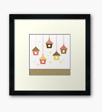 Cute spring colorful Bird houses set vector Framed Print