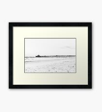 Folly Beach in Black and White Framed Print