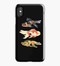 Botanical Fish Trio on Black iPhone Case