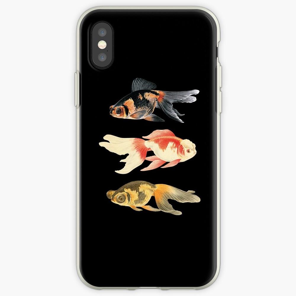 Trío de peces botánicos en negro Funda y vinilo para iPhone