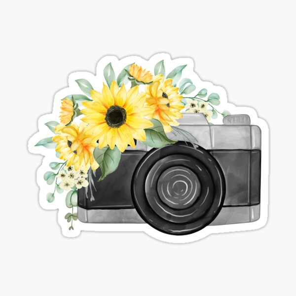 Watercolor Yellow Sunflower Bouquet with Camera Sticker