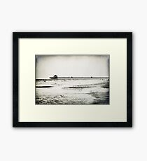 Folly Beach at Dusk in Black and White Framed Print