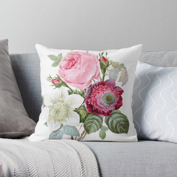 Rose Floral Botanical Throw Pillow