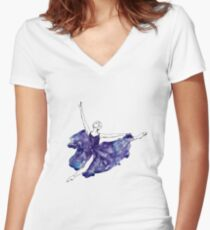 Watercolour Ballerina Women's Fitted V-Neck T-Shirt