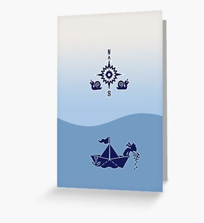 Wind Rose flanked by Snails VRS2 Greeting Card