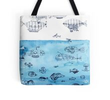 Steampunk Ships and Ocean Fishes Tote Bag