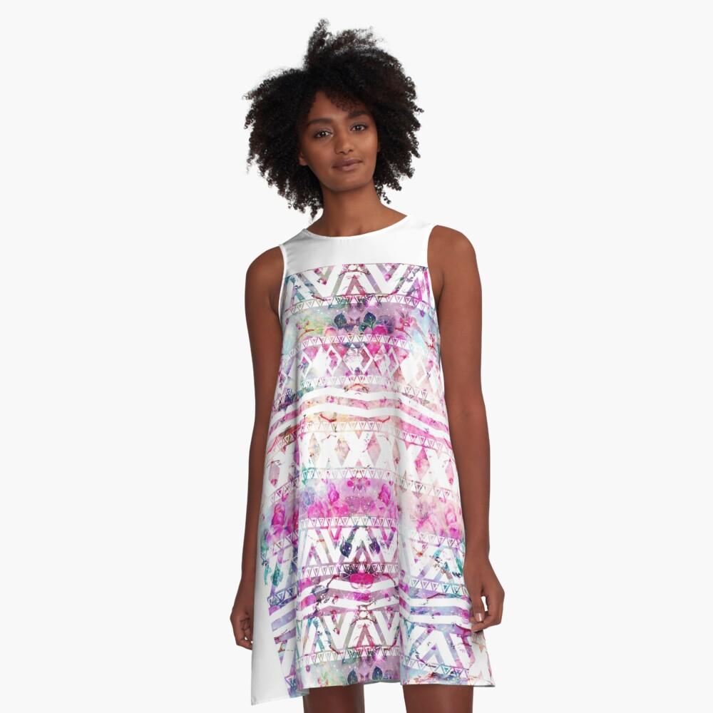 Blumennebelfleck des modernen aztekischen Musteraquarells A-Linien Kleid