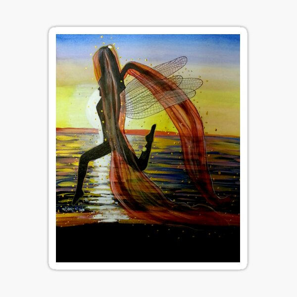 Last Rays of Fire - Mermaid Fairy Art Sticker