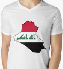 Iraq Map with Iraqi Flag Men's V-Neck T-Shirt