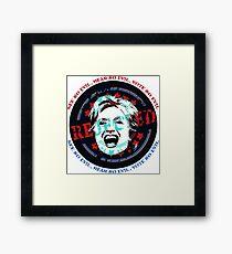 Hillary Rejected - See No Evil, Hear No Evil, Vote No Evil (Blue & Red) Framed Print