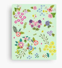 Garden Floral On Mint Green Canvas Print